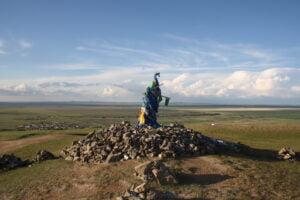 Steinhaufen in der Mongolei